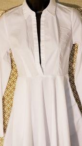 Express White Fit & Flair Cotton Shirt Dress